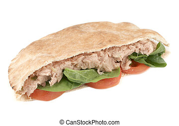 tuna with spinach and tomato in a whole wheat pita (with clipping path)