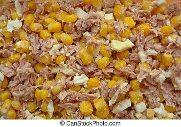 tuna salad with egg, corn and sour cream