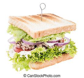 Tuna Sandwich isolated on white