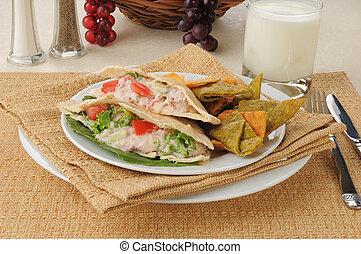 Tuna sandwich on pita bread
