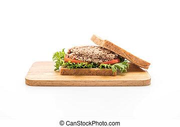 tuna sandwich on white