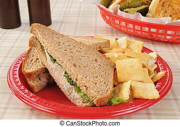 Tuna sandwich with pita chips