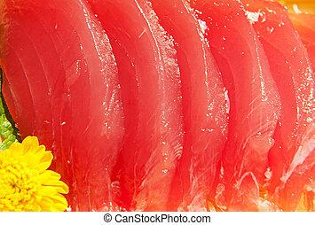 Tuna sashimi - Raw tuna sashimi with a shallow DOF