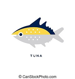 Tuna, sea fish geometric flat style design vector Illustration