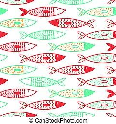 Tuna seamless pattern vector decorative fish set