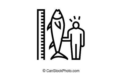 tuna size and fisherman animated black icon. tuna size and fisherman sign. isolated on white background