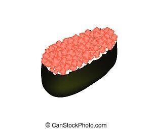 Tuna Sushi or Negitoro Isolated on White Background