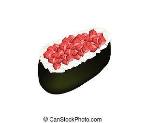 Tuna Sushi or Tuna Nigiri Isolated on White