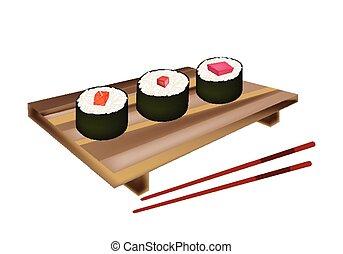 Tuna Sushi Roll, Maguro Norimaki and Salmon Makizushi