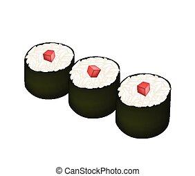 Tuna Sushi Roll or Tuna Maki Isolated on White