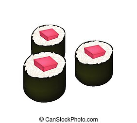 Tuna Sushi Roll or Tuna Norimaki Isolated on White -...