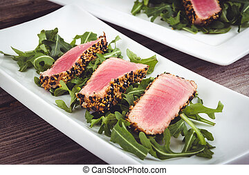 tuna tataki sesame crust appetizer plate