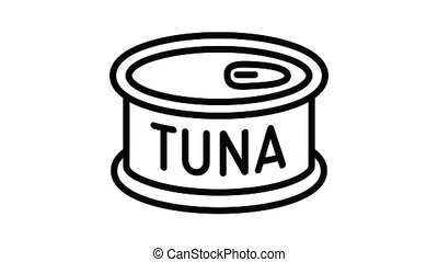 Tuna tin can icon animation outline best object on white background