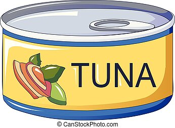 Tuna tin can icon, cartoon style
