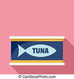 Tuna tin can icon, flat style