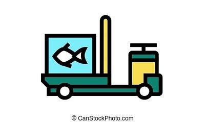 tuna transportation animated color icon. tuna transportation sign. isolated on white background