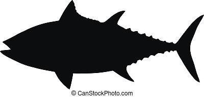 tuna., vector, silhouette