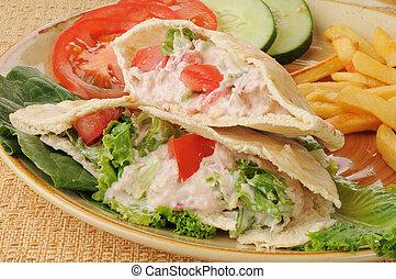 Tunafish pita sandwich