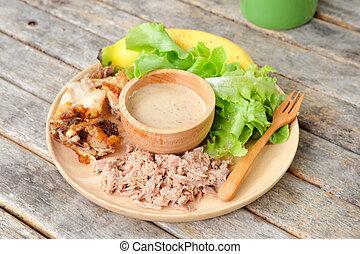 tunas, zdrowy, kurczak, owoc, jadło, drewno, roślina, swojski, stół