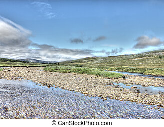 Beautiful tundra landscape in northern Norway at summer