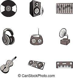 Tune icons set, gray monochrome style