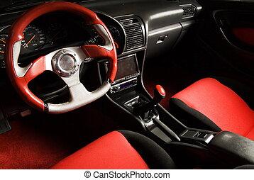 Tuned sport car. Luxury red velvet interior