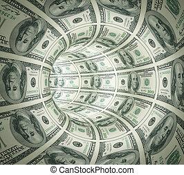 tunel, abstrakcyjny, robiony, pieniądze.