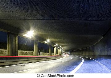tunel, calle, moderno