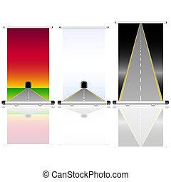 tunel, droga, do góry, ilustracja, ewidencja
