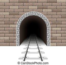 tunel, kolej żelazna, wektor, ilustracja