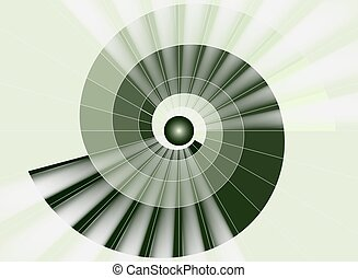 tunel, lekki, schody, zielony, spirala