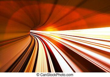 tunel, pociąg, ruchomy, mocny