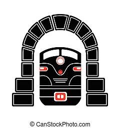 tunel, prosty, styl, pociąg, ikona