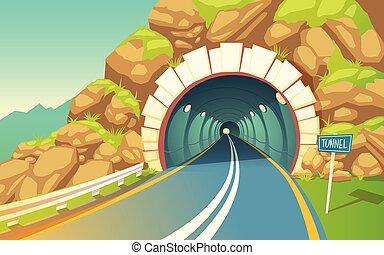 tunel, road., highway., ilustracja, wektor, metro