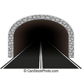 tunel, samochód, wektor, ilustracja