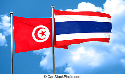 Tunesia flag with Thailand flag, 3D rendering