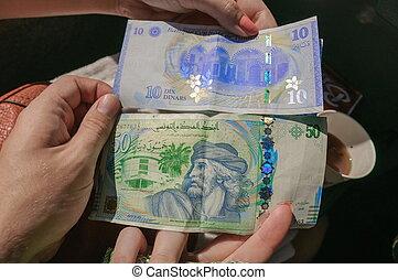 tunesian, dinar, medborgare, valuta, in, den, räcker
