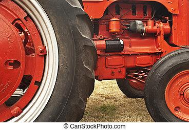 tung, årgång, röd traktor