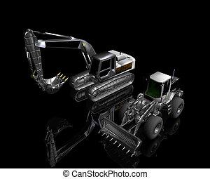 tung, byggnad, bulldozer, och, grävmaskin, på, a, svart