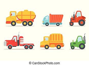 tung, lägenhet, olik, sätta, halv-, bil, tank., traktorer, vehicles., släpvagn, lorry, vektor, lastbil, slagen, theme., eller, transport, maskiner