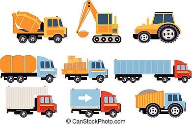 tung, last, vektor, sæt, køretøjene, udrustning, konstruktion, baggrund, illustrationer, hvid, transport