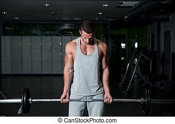 tung, män, ung, övning, barbell