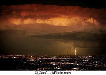 tung, oväder, ovanför, staden