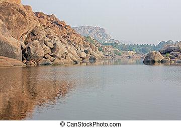 Tungabhadra river in hampi