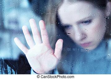 tungsind, og, sørgelige, pige, vinduet, regnen