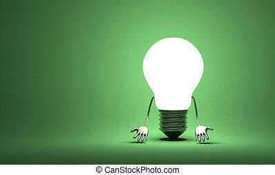 tungstène, lumière, découragé, caractère, ampoule