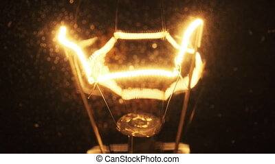 Tungsten Filament in a Glass Lamp Close-up in Slow Motion on Black Background