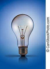 tungsten light bulb lamp on blue background