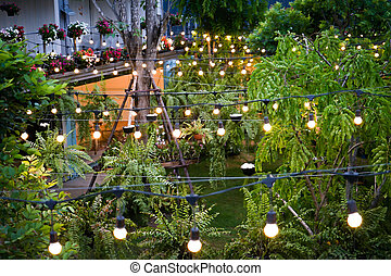 tungsten light line was decorated in the container garden at night.
