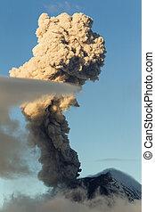 Tungurahua Volcano In Ecuador Large Mushroom Cloud Explosion